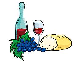 美味葡萄酒面包矢量元素