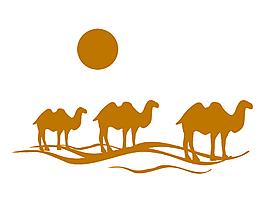 手繪棕色駱駝與太陽矢量圖