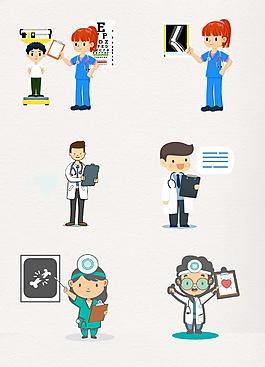 6款手繪專科醫生矢量人物