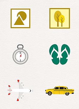 扁平化夏季旅行设计素材