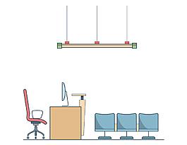 卡通扁平椅子电棒矢量元素