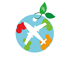 绿色环保飞机吊坠圆形卡片矢量图