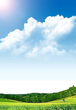 清新白云藍天草地印刷背景