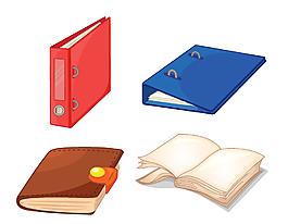 卡通書與文件夾矢量素材
