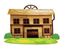 两层房子与草坪矢量元素