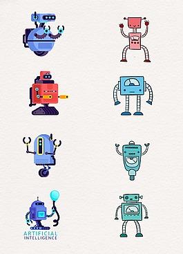 扁平化线条科技设计机器人