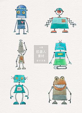 手繪呆萌卡通智能機器人素材