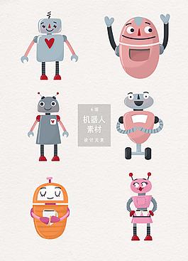 可爱机器人插画素材