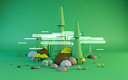 绿色底边形立体风c4d场景建模配色小树林