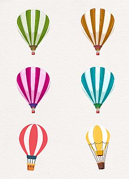 簡約相間色手繪熱氣球圖片素材