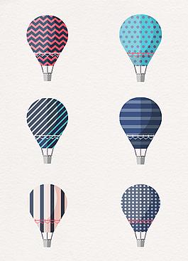扁平化夢幻花紋熱氣球元素