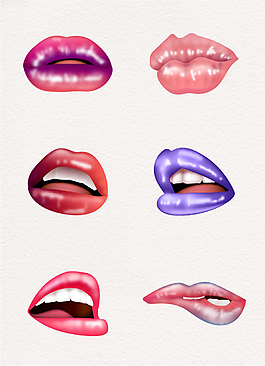 手绘时尚美妆彩色嘴唇矢量素材