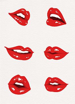 手繪漫畫風紅唇嘴唇設計元素