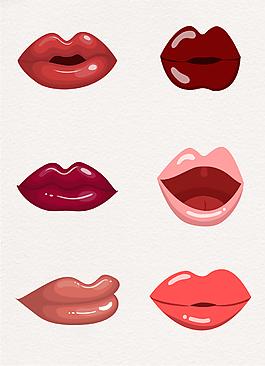 一組厚實手繪女性嘴唇設計元素