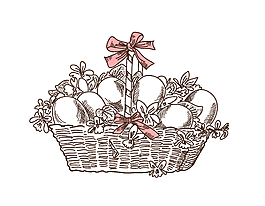 手绘篮子鸡蛋元素