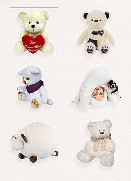 白色可愛毛絨玩偶素材