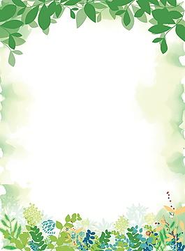 朦朧多彩綠葉綠色背景素材