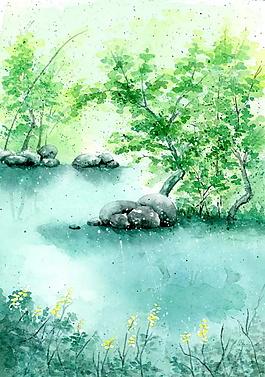 河邊小樹黃花綠色背景素材