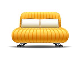 卡通黃色雙人沙發矢量元素