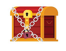 卡通鎖鏈寶箱元素
