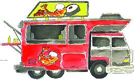 紅色快餐車矢量素材