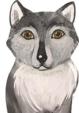 灰色簡筆狐貍矢量素材