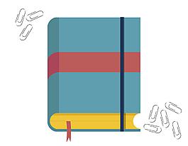 書本與曲別針矢量圖