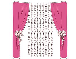 卡通布窗帘与珠子窗帘矢量素材