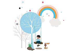 卡通树下荡秋千的小孩与彩虹