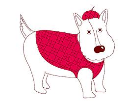 卡通穿紅色衣服的小狗矢量素材