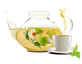 健康養生美味花茶矢量圖