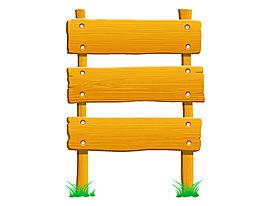 卡通黃色籬笆指示牌矢量元素