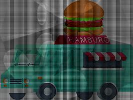 青色漢堡餐車矢量素材