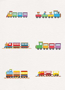 手繪小火車和兒童矢量圖