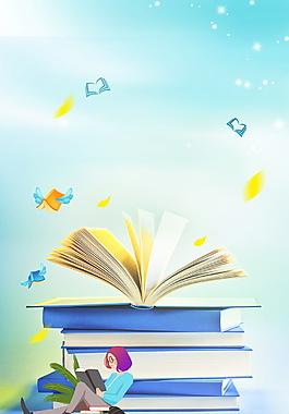 翻開的書和坐著閱讀的女孩背景素材
