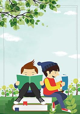 坐在樹底下閱讀的小男孩背景素材