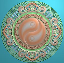 中式八卦屏風圓盤雕花背板精雕jdp文件