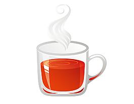 卡通玻璃杯紅茶元素