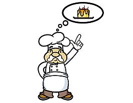 卡通可爱白胡子厨师元素