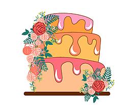 卡通玫瑰花朵蛋糕元素