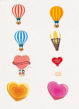 爱心卡通图案热气球设计