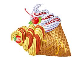 卡通水果草莓冰淇淋元素