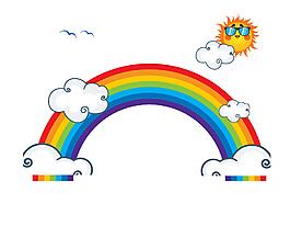 扁平化彩虹桥与白云太阳