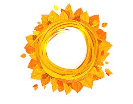 金黄色树叶围绕的圆形矢量图