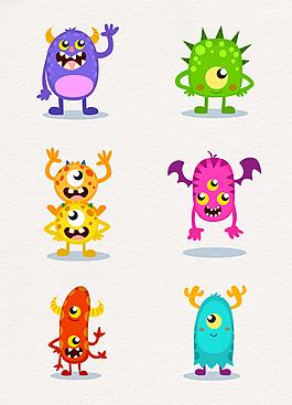 炫彩矢量细菌怪物设计
