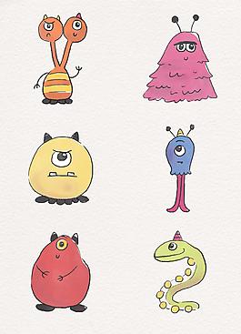 彩绘可爱小怪物形象设计