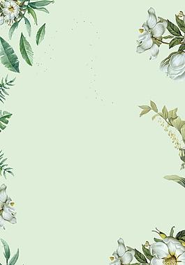 花朵樹葉綠色背景素材