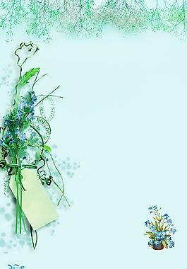 树木绿藤花朵绿色背景素材