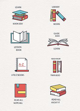 彩绘可爱书本标识矢量logo设计