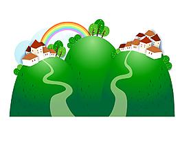 卡通草坪与房子矢量素材